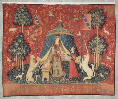 """""""A mon seul désir"""" est la dernière tapisserie de la tenture de la Dame à la Licorne. la seule explicitement nommée, elle incarnerait le sens ultime, le sixième, celui du coeur, porte d'accès au monde spirituel. intuition"""